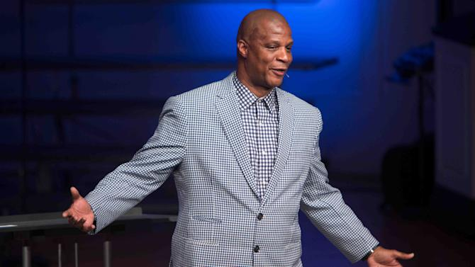 Former Major League Baseball star Darryl Strawberry shares his story of redemption as he gives a sermon at a MARKINC Blue Jean Benefit in Bear, Delaware Friday, April 24, 2015. (Suchat Pederson, The Wilmington News-Journal via AP)
