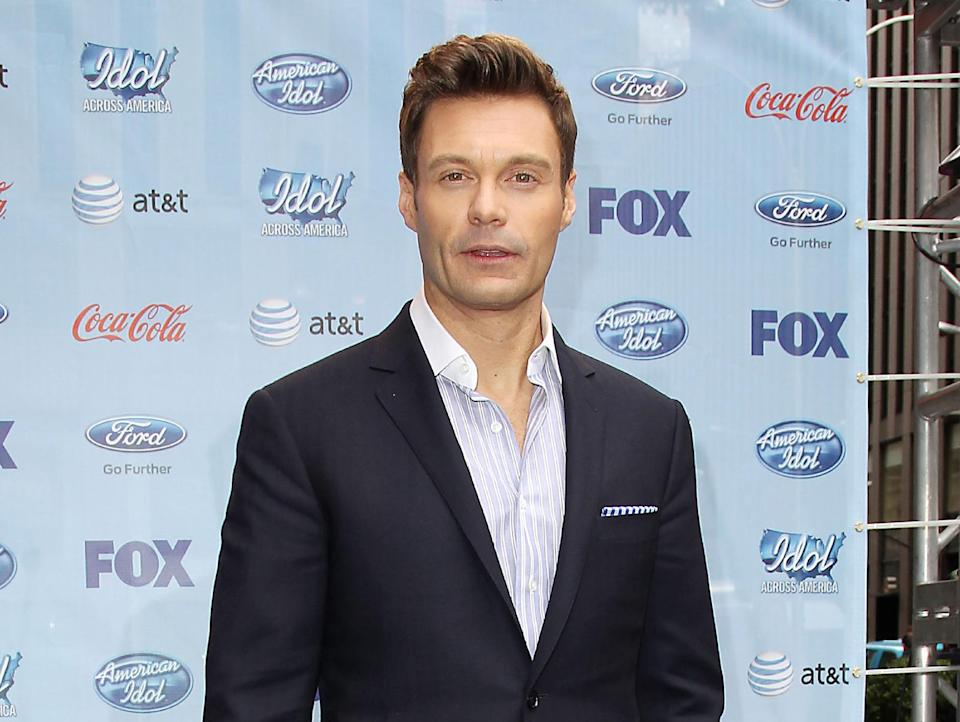 "This image released by Starpix shows Ryan Seacrest during a news conference for ""American Idol"", Friday, March 1, 2013, to kick of the ""Idol Across America,"" a promotion in New York. (AP Photo/Starpix, Kristina Bumphrey)"