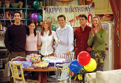 "David Schwimmer, Courteney Cox, Jennifer Aniston, Matthew Perry, Matt LeBlanc and Lisa Kudrow in ""The One Where They All Turn 30"" in NBC's Friends"
