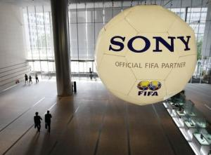 File photo shows a large soccer ball-shaped installation promoting Sony Corp's partnership with FIFA in Tokyo