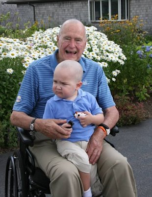 Former President Bush with the adorable Patrick (photo courtesy of Patrick's Pals)