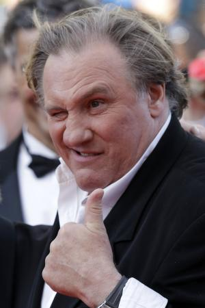 Actor Gerard Depardieu arrives for the screening of The Homesman at the 67th international film festival, Cannes, southern France, Sunday, May 18, 2014. (AP Photo/Thibault Camus)