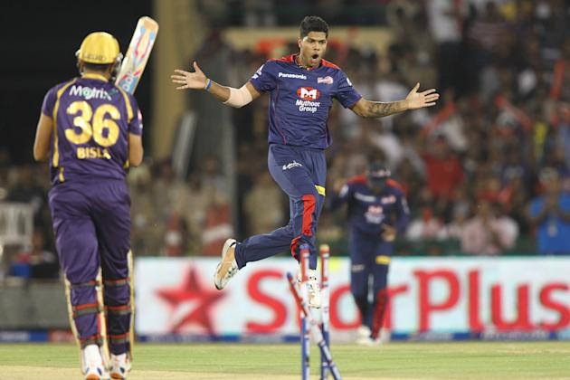 Umesh Yadav of Delhi Daredevils celebrates after bowling Manvinder Bisla of Kolkata Knight Riders during match 44 of the Pepsi Indian Premier League between The Delhi Daredevils and the Kolkata Knight