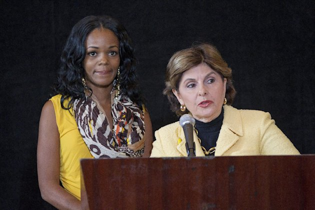 Yovanka Bryant,left, and her lawyer, Gloria Allred, discuss a recent attack on a homeless man by Brant's boyfriend Rudy Eugene, during a news conference, Wednesday, June 6, 2012 in Miami. Bryant said she last heard from Eugene, the day before he chewed off the face of a homeless man alongside a Miami highway. A police officer shot and killed Eugene. The homeless man remains hospitalized. (AP Photo/J Pat Carter)