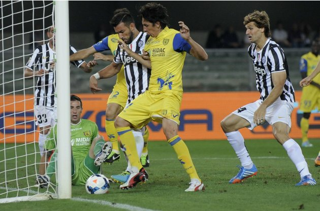 Juventus' Quagliarella scores against Chievo during Italian Serie A match in Verona