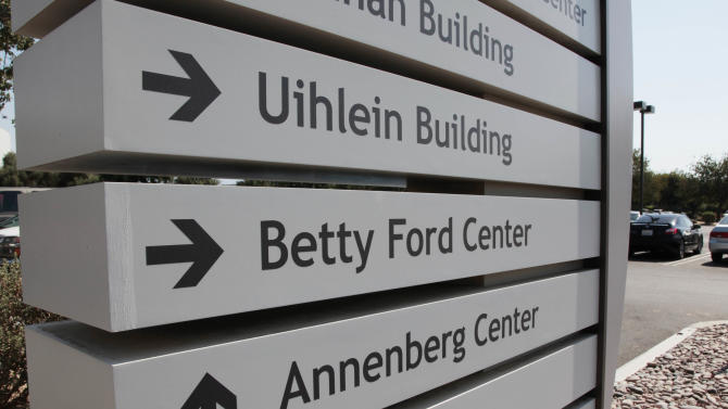 A sign for the Betty Ford Center at the Eisenhower Medical Center in Rancho Mirage, Calif., on Saturday, July 9, 2011. The former First Lady died on Friday, July 8.    Ford, the former first lady whose triumph over drug and alcohol addiction became a beacon of hope for addicts and the inspiration for her Betty Ford Center in California.   (AP Photo/Francis Specker)