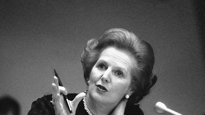 "FILE - In this June 23, 1982 file photo, Britain's Prime Minister Margaret Thatcher gestures with her pen as she answers a reporters question during a news conference at the United Nations. Ex-spokesman Tim Bell says that Thatcher has died. She was 87. Bell said the woman known to friends and foes as ""the Iron Lady"" passed away Monday morning, April 8, 2013. (AP Photo/File)"