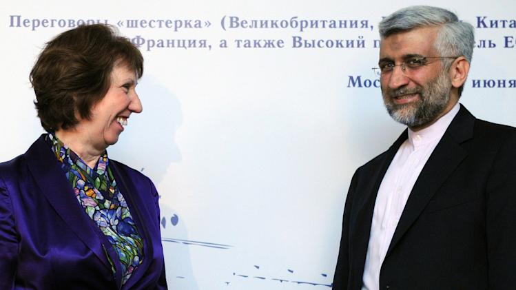 EU foreign policy chief Catherine Ashton, left, and chief Iranian nuclear negotiator Saeed Jalili meet in Moscow, on Monday, June 18, 2012, before the start of the high-stakes talks on the controversial Iranian nuclear programme. Negotiators from Iran and world powers started today crunch talks in the Russian capital seen by some commentators as a final chance to solve the crisis diplomatically. (AP Photo/Kirill Kudryavtsev, pool)