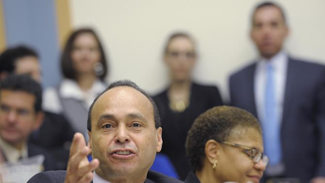 House Judiciary Committee member Rep. Luis Gutierrez, D-Ill., gives his opening remarks on Capitol Hill in Washington, Tuesday, Feb. 5, 2013, during the committee's hearing on America's Immigration System: Opportunities for Legal Immigration and Enforcement of Laws against Illegal Immigration.  (AP Photo/Susan Walsh)