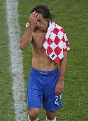 Italy's Andrea Pirlo leaves the pitch after the Euro 2012 soccer championship Group C match between Italy and Croatia in Poznan, Poland, Thursday, June 14, 2012. (AP Photo/Anja Niedringhaus)