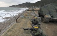 This file photo shows South Korean marines taking part in a military exercise on Yeonpyeong island, in 2011. S.Korea will hold a military drill this week on Yeonpyeong, a border island shelled by North Korea in 2010, marking the second anniversary of an attack that triggered fears of a full-scale conflict