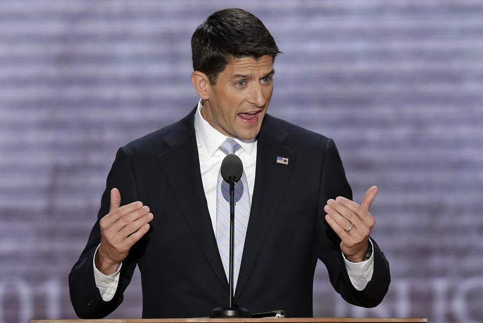Republican vice presidential nominee, Rep. Paul Ryan addresses the Republican National Convention in Tampa, Fla., on Wednesday, Aug. 29, 2012. (AP Photo/J. Scott Applewhite)