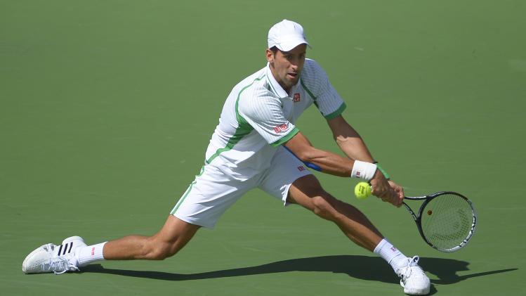 Novak Djokovic, of Serbia, returns a shot against Jo-Wilfried Tsonga, of France, during their match at the BNP Paribas Open tennis tournament on Friday, March 15, 2013, in Indian Wells, Calif. (AP Photo/Mark J. Terrill)
