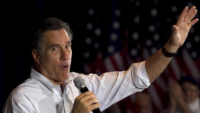 Republican presidential candidate, former Massachusetts Gov. Mitt Romney addresses an audience during a campaign stop at an American Legion post in Arbutus, Md., Wednesday, March 21, 2012. (AP Photo/Steven Senne)