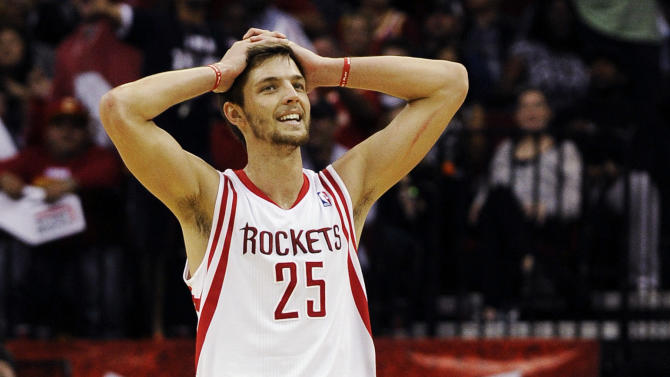 Houston Rockets' Chandler Parsons reacts to a foul called against the Rockets in the second half of an NBA basketball game against the Miami Heat, Monday, Nov. 12, 2012, in Houston. The Heat won 113-110. (AP Photo/Pat Sullivan)