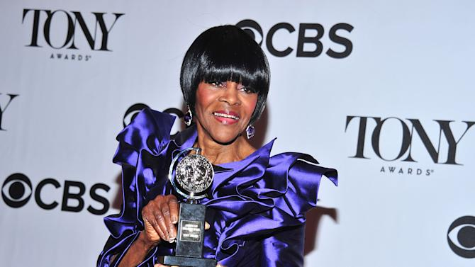 "FILE - This June 9, 2013 file photo shows Cicely Tyson posing with her award for best actress in a play for ""The Trip to Bountiful,"" in the press room at the 67th Annual Tony Awards in New York. Tyson ends her award-winning role on Oct. 9. (Photo by Charles Sykes/Invision/AP, File)"