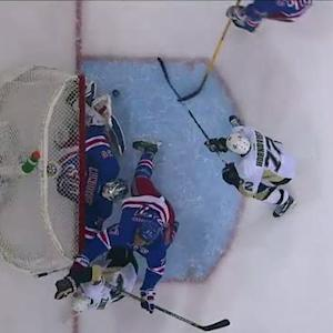 Lundqvist denies Hornqvist on the goal line