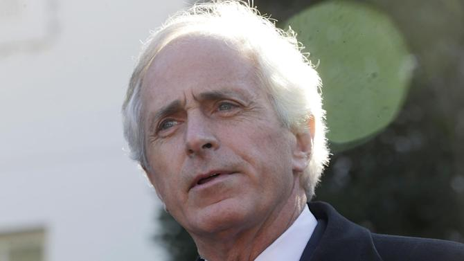FILE - This Nov. 19, 2013 file photo shows Sen. Bob Corker, R-Tenn., ranking Republican on the Senate Foreign Relations Committee, speaking to reporters outside the West Wing of the White House following a meeting with President Barack Obama. Congress is raising questions about the secret U.S. diplomacy with Iran that led to last month's nuclear breakthrough, with lawmakers demanding greater transparency and expressing disappointment at being left in the dark. On Wednesday, Corker, who recently visited Oman and discussed the diplomatic back-channel with the country's foreign minister, asked one of the American officials involved to publicly explain the process. (AP Photo/Pablo Martinez Monsivais, File)