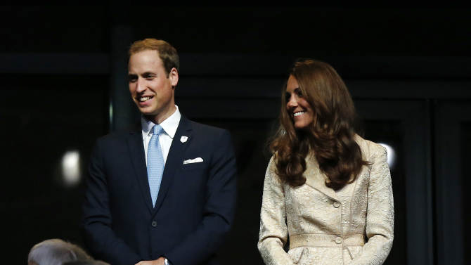 Britain's Prince William and wife Kate, the Duke and Duchess of Cambridge attend the Opening Ceremony for the 2012 Paralympics in London, Wednesday Aug. 29, 2012. (AP Photo/Matt Dunham)