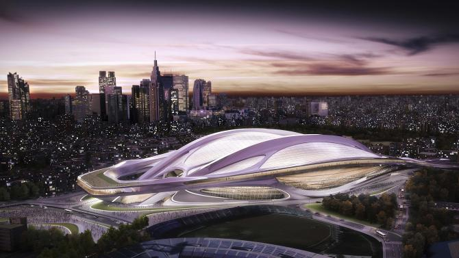 FILE - This artist rendering file released by Japan Sport Council shows the new National Stadium, which will be the main venue for the Tokyo 2020 Summer Olympics. The Olympics building spree could be a welcome boon for the economy. But there are doubts over the costs and scale of some of the proposed projects, especially an 80,000-seat stadium designed by British-Iraqi architect Zaha Hadid that was the centerpiece of Tokyo's 2020 bid. (AP Photo/Japan Sport Council, File)