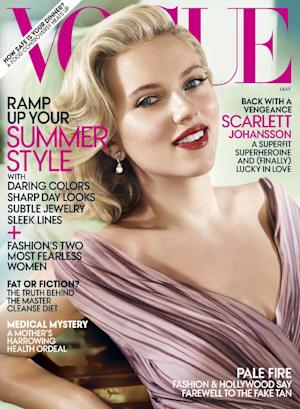 "In this magazine cover image released by Vogue, actress Scarlett Johansson is shown on the cover of the May 2012 issue of ""Vogue."" (AP Photo/Vogue)"