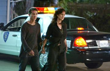 Shia LaBeouf and Carrie-Anne Moss in DreamWorks Pictures' Disturbia