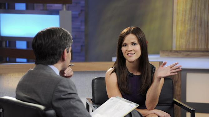 """This image released by ABC news shows co-host George Stephanopoulos, left, interviewing actress Reese Witherspoon on """"Good Morning America,"""" Thursday, May 2, 2013 in New York. During the interview, Witherspoon repeatedly apologized for her behavior during an April 19 traffic stop in Georgia. Witherspoon, 37, was arrested after the trooper said she wouldn't stay in the car while her husband, Hollywood agent Jim Toth, was given a field sobriety test. Toth was charged with drunken driving and is due in court May 23. Witherspoon faces a May 22 court hearing on the disorderly conduct charge. (AP Photo/ABC, Ida Mae Astute)"""