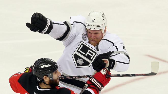 Matt Greene #2 Of The Los Angeles Kings Collides Getty Images
