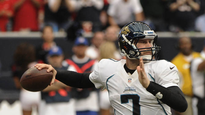 Jacksonville Jaguars quarterback Chad Henne prepares to throw a pass against the Houston Texans during the fourth quarter of an NFL football game Sunday, Nov. 18, 2012, in Houston. (AP Photo/Dave Einsel)