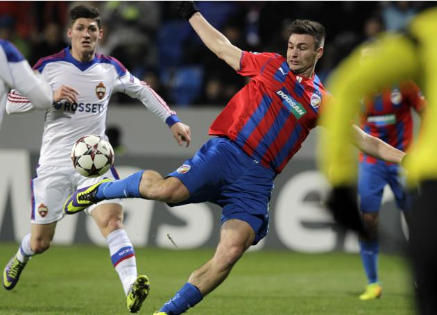 Viktoria Plzen's Tomas Wagner shoots to score during their Champions League soccer match against CSKA Moscow in Plzen