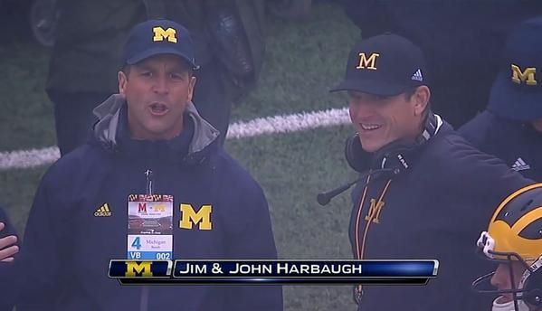 Harbaugh on sidelines for Maryland-Michigan, gets punt his way