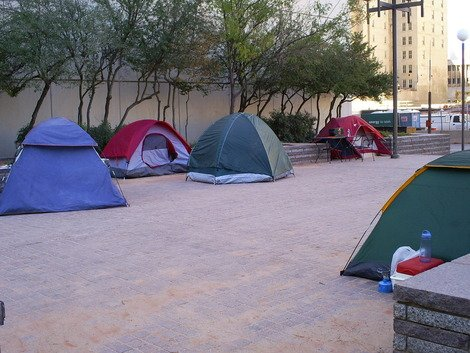 As this photo demonstrates, Occupy OKC campers keep the park very clean.