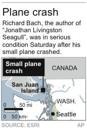 Map locates site where author Richard Bach crashed his small plane;