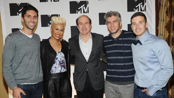 """IMAGE DISTRIBUTED FOR MTV - From left, Nev Schulman from """"Catfish: The TV Show"""", Emeli Sande, Philippe Dauman President and CEO Viacom,  Max Joseph from """"Catfish: The TV Show"""", Vinny Guadagnino from """"The Show With Vinny"""" arriving at the 2013 MTV Upfront, on Thursday, April 25, 2013 at the Beacon Theater in New York. (Photo by Scott Gries/Invision/AP Images)"""