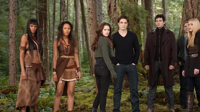 "This undated publicity photo released by Summit Entertainment shows, from left, Judith Shekoni, Tracey Heggins, Kristen Stewart, Robert Pattinson, Christian Camargo, Peter Facinelli and Casey LaBow in a scene from the film, ""The Twilight Saga: Breaking Dawn - Part 2."" ""The Twilight Saga: Breaking Dawn - Part 2"" led the Razzies lineup Wednesday, Jan. 9, 2013, with 11 nominations, including worst picture, lead-acting slots for Kristen Stewart and Robert Pattinson and supporting-acting nominations for Taylor Lautner and Ashley Greene. (AP Photo/Summit Entertainment, Andrew Cooper, SMPSP)"