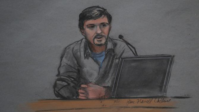 A courtroom sketch shows Boston Marathon bombing survivor Bauman testifying in the trial of accused bomber Tsarnaev at the federal courthouse in Boston
