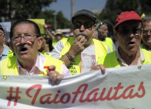 &lt;p&gt;Activists from the &#39;Yayoflautas&#39; movement are pictured as they stage a protest in Barcelona, on June 22. Not content to sit out the economic crisis cushioned by their pensions, the elderly are joining in a wave of social protests in Spain, clamouring noisily in support of younger fellow citizens.&lt;/p&gt;