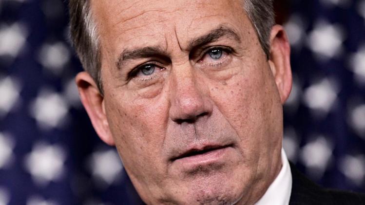 House Speaker John Boehner, R-Ohio, defends the contempt of Congress vote against Attorney General Eric Holder during a news conference on Capitol Hill in Washington, Thursday, June 21, 2012. (AP Photo/J. Scott Applewhite)