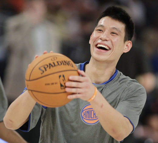 FILE - This Feb. 24, 2012 file photo shows New York Knicks&#39; Jeremy Lin laughing during warmups before the start of the NBA All-Star Rising Stars Challenge basketball game in Orlando, Fla. This would have been such an easy decision in February. Lin was the biggest thing in basketball, and no way the Knicks would have let him go elsewhere. Now, knowing his price and with no assurance he&#39;ll play as he did when Linsanity reigned, the Knicks may allow Lin to leave for Houston. (AP Photo/Chris O&#39;Meara, File)