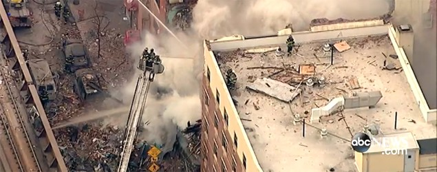 Partial building collapse and fire in New York City (ABC)