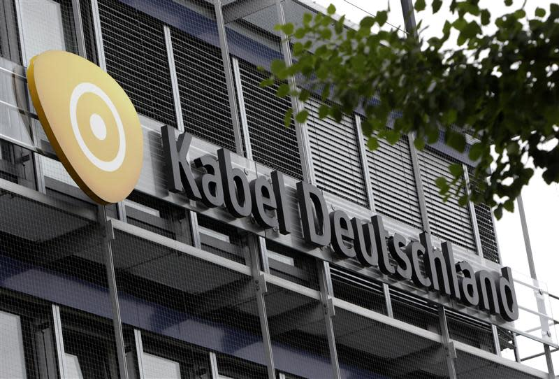 The logo of Kabel Deutschland is pictured at headquarters in Unterfoehring