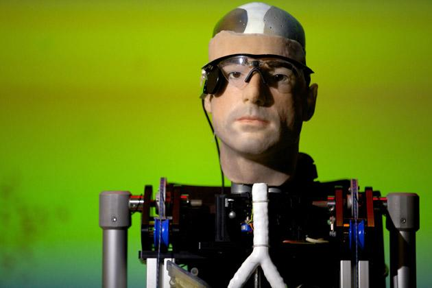 """Rex"", the world's first ""bionic man"", during a photo call at the Science Museum in London on February 5, 2013. The $1m humanoid has a distinctly human shape and boasts prosthetic limbs, a functional artificial blood circulatory system complete with artificial blood, as well as an artificial pancreas, kidney, spleen and trachea."