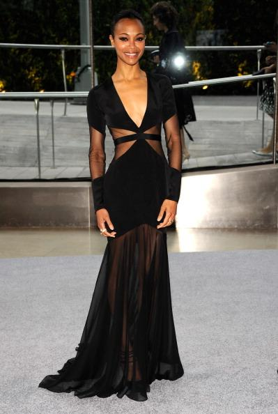 "<div class=""caption-credit""> Photo by: Getty Images</div><div class=""caption-title"">Zoe Saldana: A Glamour Best Dressed</div>Glamour UK recently chose Saldana as a candidate for 2013 Best Dressed Woman based on how she wore this Prabal Gurung gown. The dress' modern lines and sexy sheerness combined with Saldana's slim frame took the fashion world by storm this year."