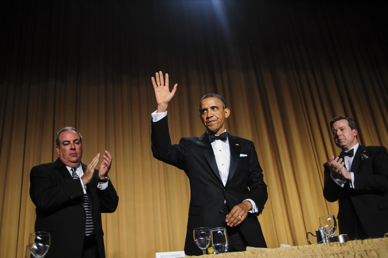 WASHINGTON, DC - APRIL 27:  U.S. President Barack Obama acknowledges the audience folllowing his comedic address during the White House Correspondents' Association Dinner on April 27, 2013 in Washington, DC. The dinner is an annual event attended by journalists, politicians and celebrities. (Photo by Pete Marovich-Pool/Getty Images)