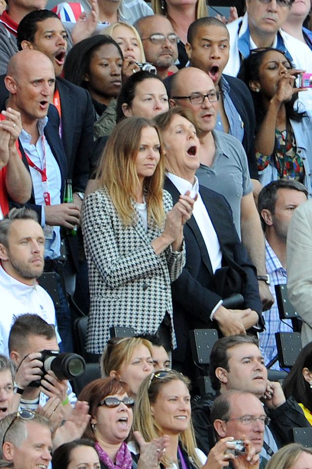 LONDON, UNITED KINGDOM - AUGUST 04:  (Centre, L-R) Stella McCartney and Sir Paul McCartney attend the Athletics on Day 8 of the London 2012 Olympic Games at Olympic Stadium on August 4, 2012 in London, England.  (Photo by Pascal Le Segretain/Getty Images)