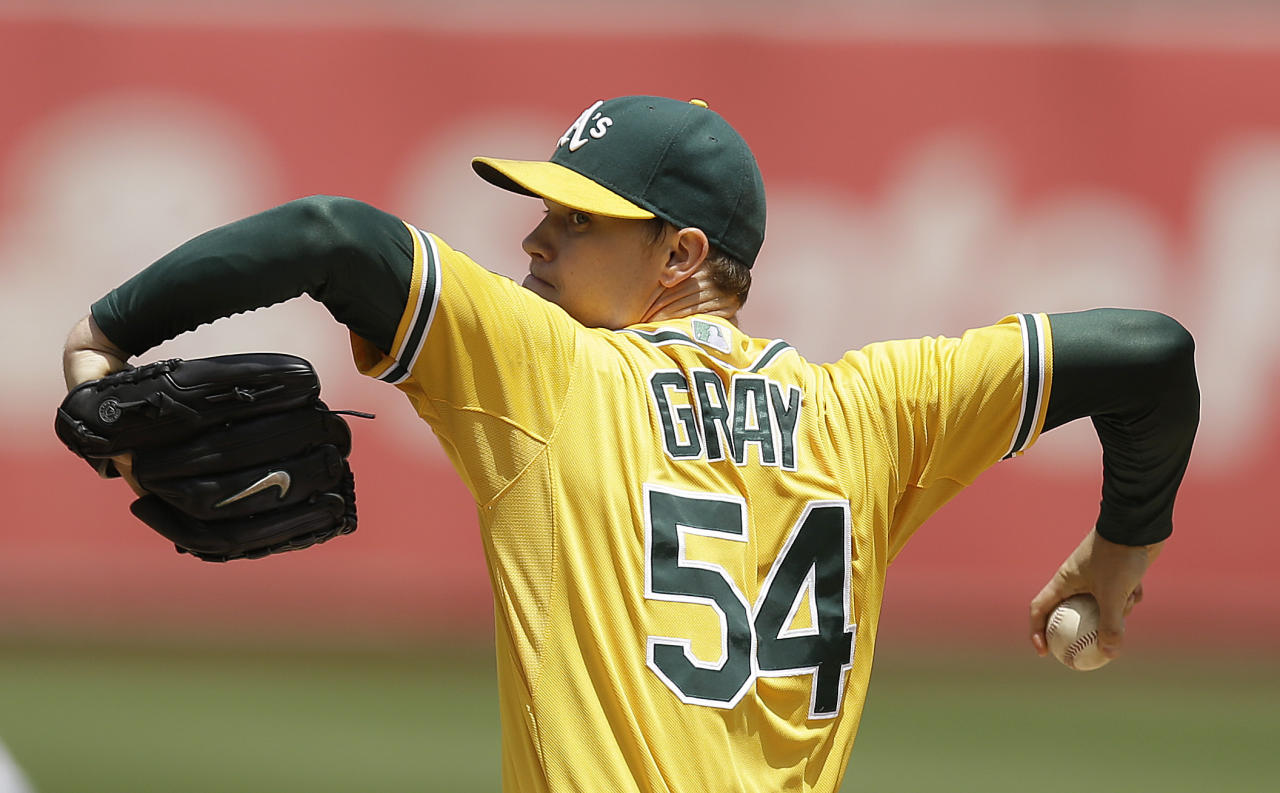 Oakland Athletics' Sonny Gray works against the Baltimore Orioles in the first inning of a baseball game Sunday, July 20, 2014, in Oakland, Calif. (AP Photo/Ben Margot)
