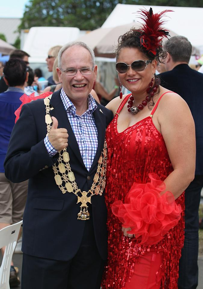 AUCKLAND, NEW ZEALAND - FEBRUARY 16: Auckland Mayor Len Brown (L) and Labour MP Louisa Wall pose for a photo during the Pride parade on February 16, 2013 in Auckland, New Zealand. The gay parade, celebrating lesbian, gay, bisexual and transgender (LGBT) culture has returned to Ponsonby Road after 10 years and organisers plan to put the parade on the tourism map, in the style of the Sydney Mardi Gras.  (Photo by Sandra Mu/Getty Images)