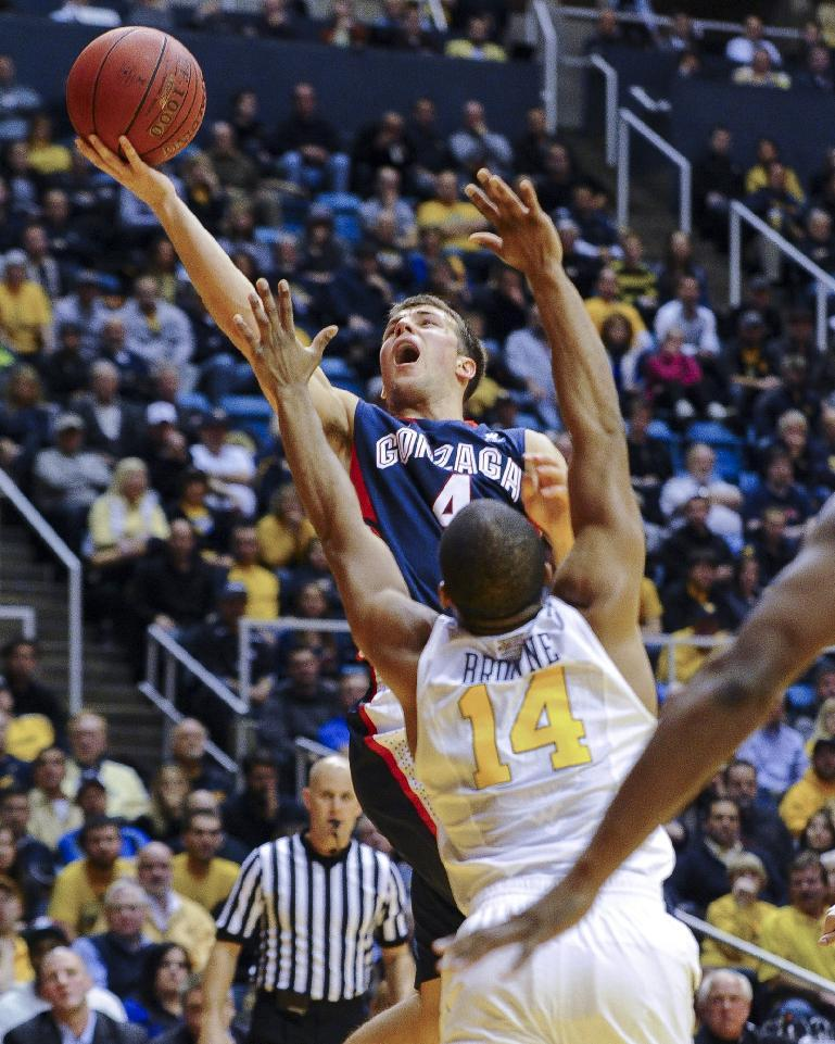 No. 20 Gonzaga beats West Virginia 80-76