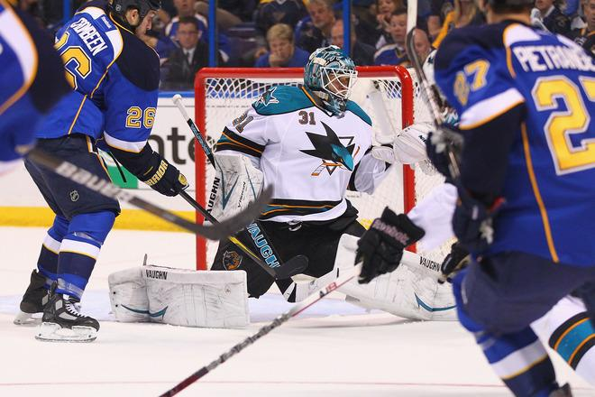 ST. LOUIS, MO - APRIL 14: Antti Niemi #31 of the San Jose Sharks makes a save against the St. Louis Blues during Game Two of the Western Conference Quarterfinals during the 2012 NHL Stanley Cup Playoffs at the Scottrade Center on April 14, 2012 in St. Louis, Missouri.  (Photo by Dilip Vishwanat/Getty Images)