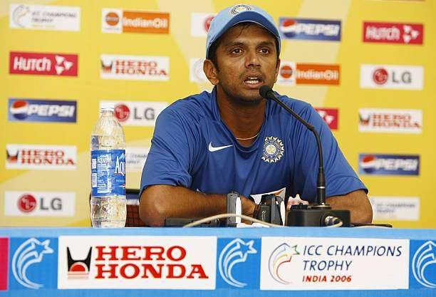 JAIPUR, INDIA - OCTOBER 14: Rahul Dravid of India talks to the media after a practice session ahead of the match between India and England in the ICC Champions Trophy, at the RCA Acadamy on October 14, 2006, in Jaipur, India. (Photo by Clive Mason/Getty Images)